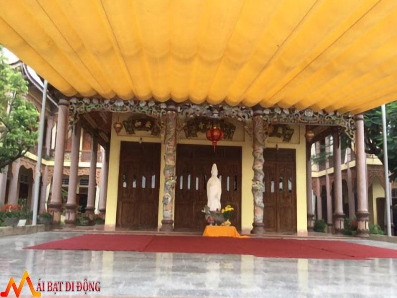 mái bạt che đẹp ngoài trời cho sân chùa tượng phật
