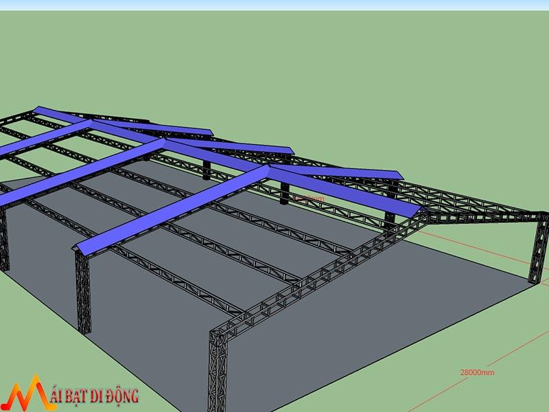 Kết cấu khung 3D cho nhà xưởng